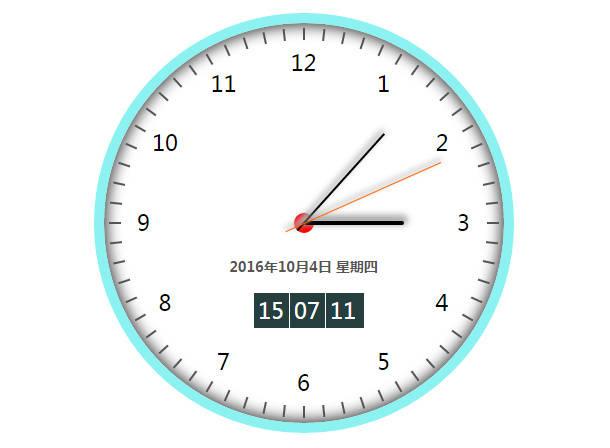 jQuery/CSS3带数字时钟的圆盘时钟